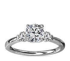 NEW Petite Three-Stone Diamond Engagement Ring in 18k White Gold