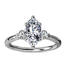 Petite Three-Stone Diamond Engagement Ring in 18k White Gold