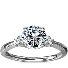 Petite Three-Stone Diamond Engagement Ring in 18k White Gold