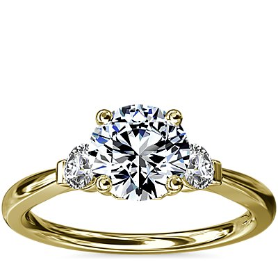 NEW Petite Three-Stone Diamond Engagement Ring in 18k Yellow Gold