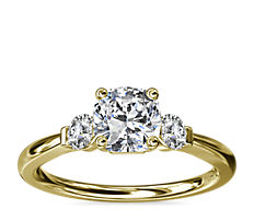 Petite Three-Stone Diamond Engagement Ring in 18k Yellow Gold