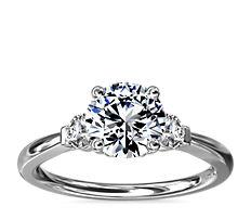 NEW Petite Three-Stone Diamond Engagement Ring in Platinum