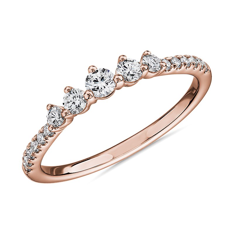 Petite Tiara Diamond Wedding Ring in 14k Rose Gold (1/3 ct. tw.)
