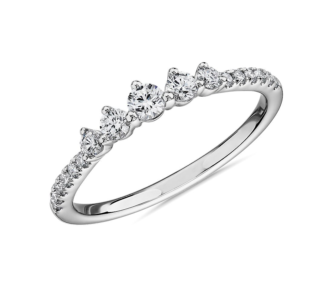 Petite Tiara Diamond Wedding Ring in 14k White Gold