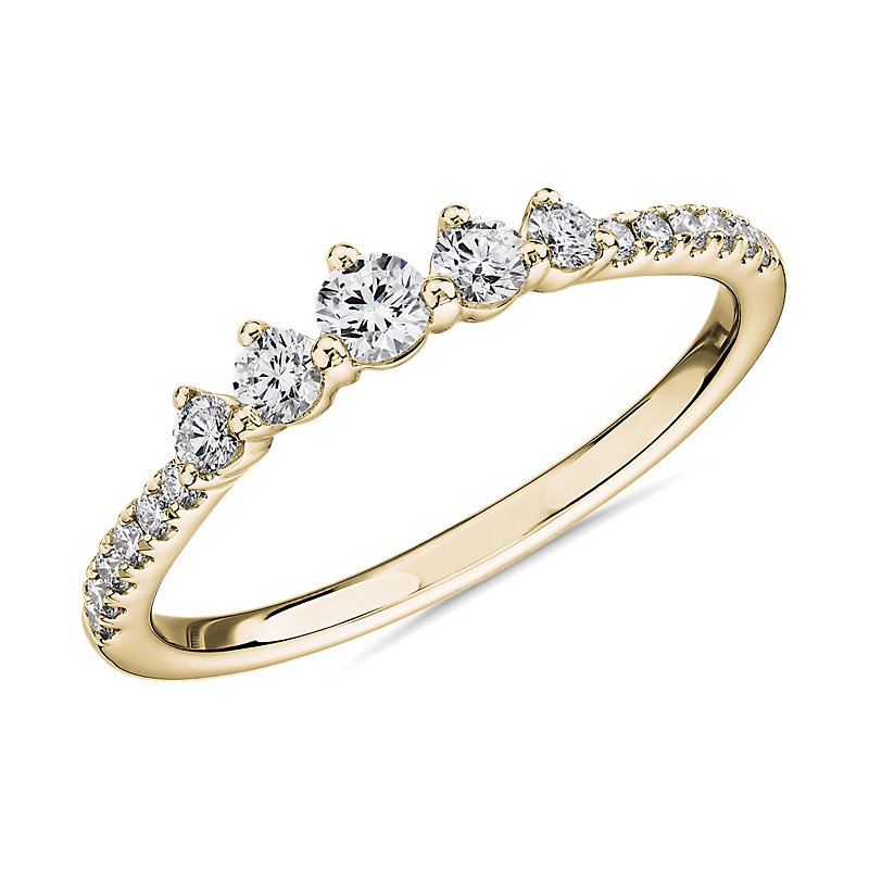 Petite Tiara Diamond Wedding Ring in 14k Yellow Gold (1/3 ct. tw.