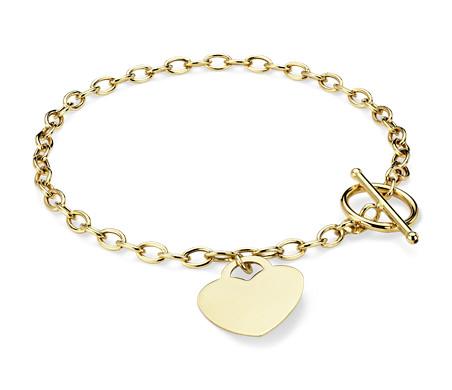 Blue Nile Petite Heart Bracelet in 14k Yellow Gold J3xrdBWm
