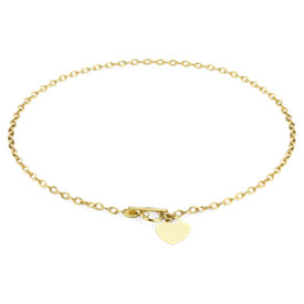 Petite Toggle Heart Tag Necklace in 14k Yellow Gold