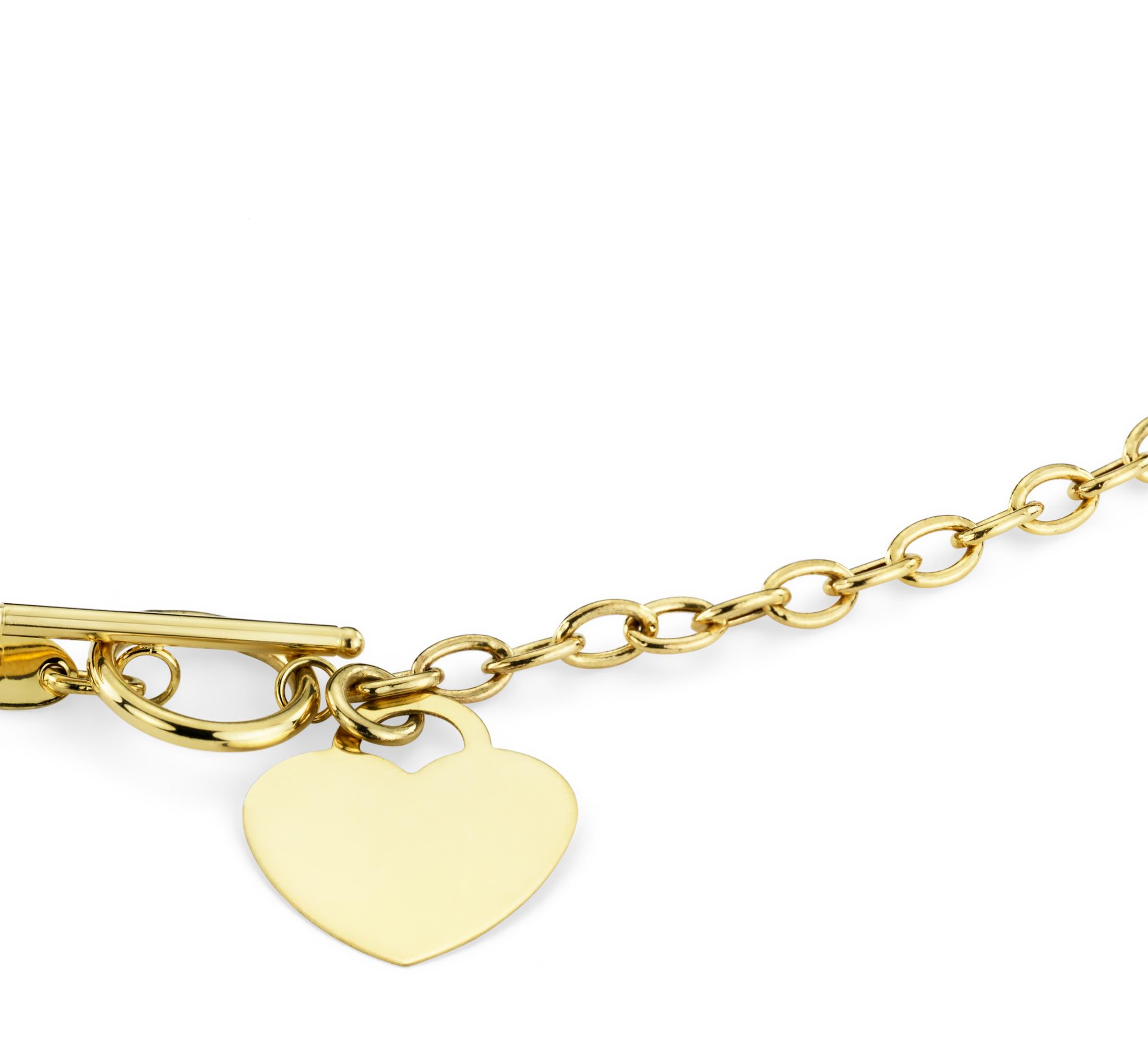 Collar pequeño con dije en forma de corazón con broche de botón en oro amarillo de 14k