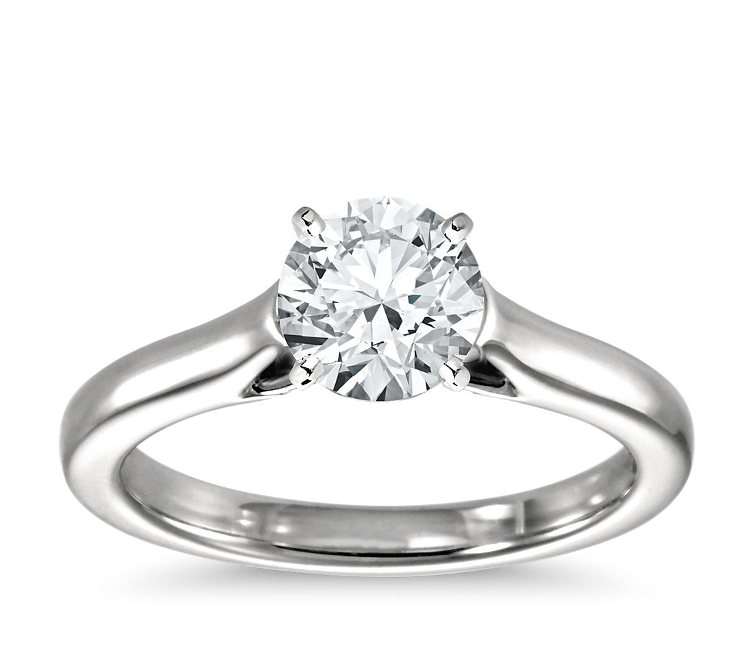 petite trellis solitaire engagement ring in platinum - Wedding Ring Settings
