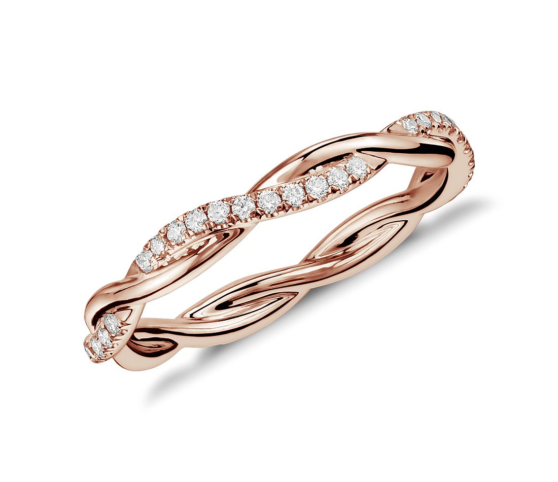 Petite Twist Diamond Eternity Ring in 14k Rose Gold (1/5 ct. tw.)