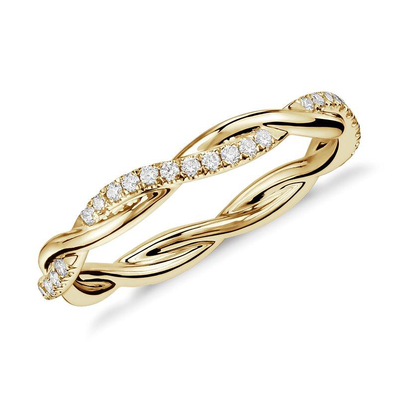 Petite Twist Diamond Eternity Ring in 14k Yellow Gold (1/5 ct. tw