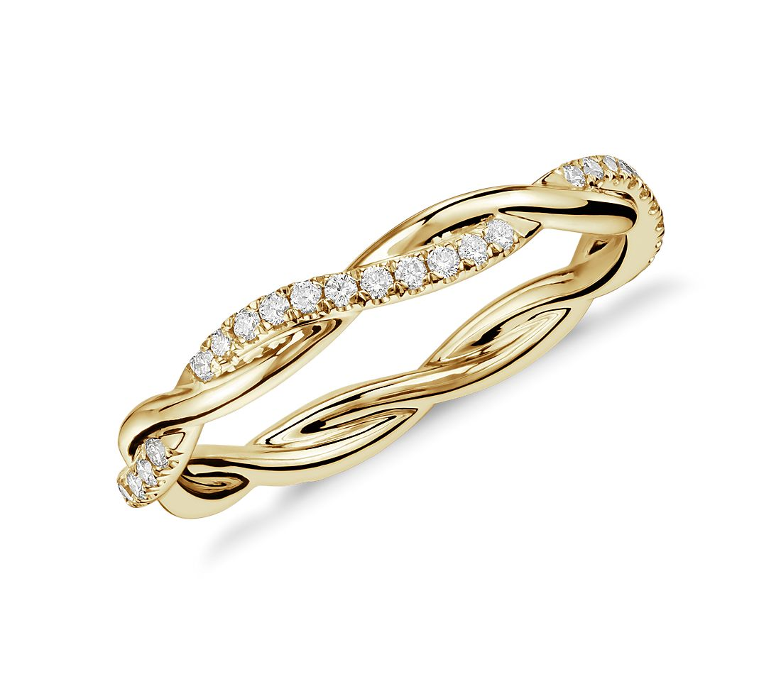 Petite Twist Diamond Eternity Ring in 14k Yellow Gold (1/5 ct. tw.)