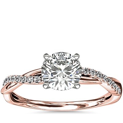 Petite Twist Diamond Engagement Ring in 14k Rose Gold (1/10 ct. tw.)