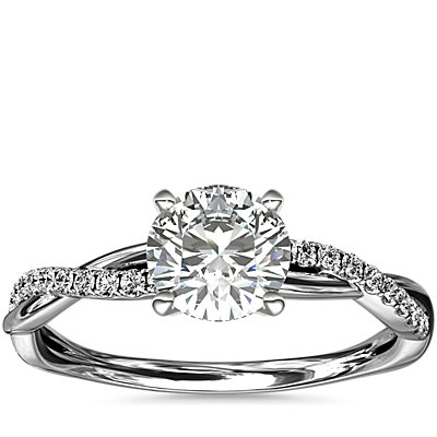 Petite Twist Diamond Engagement Ring in 14k White Gold (0.09 ct. tw.)