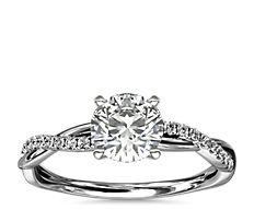 Petite Twist Diamond Engagement Ring in 14k White Gold (0.09 ct. tw.)