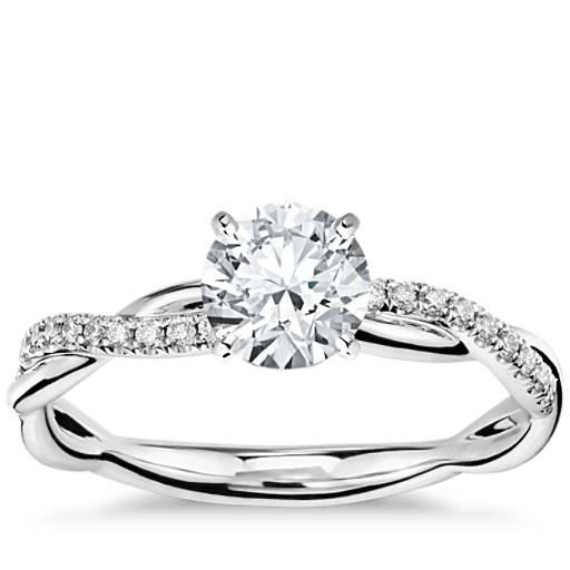 Petite Twist Diamond Engagement Ring In 14k White Gold (1