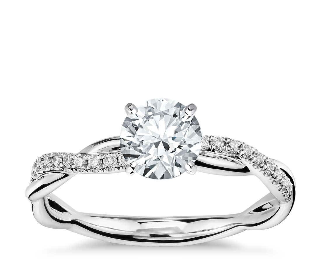 Petite twist diamond engagement ring in 14k white gold 1 for Dimond wedding ring
