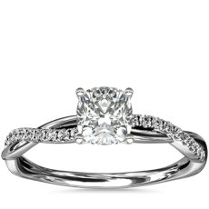 Petite Twist Diamond Engagement Ring in 14k White Gold