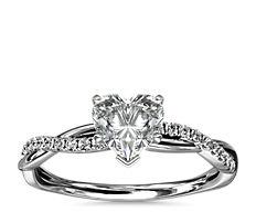 Petite bague de fiançailles diamant torsadée en or blanc 14carats (0,09carat, poids total)
