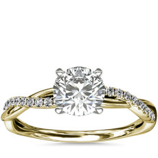 Petite Twist Diamond Engagement Ring in 14k Yellow Gold (1/10 ct. tw.)