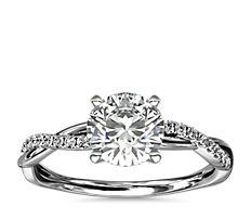 Petite Twist Diamond Engagement Ring in Platinum (1/10 ct. tw.)