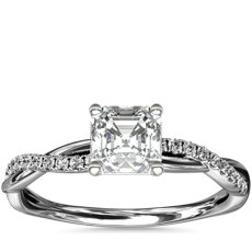 Petite Twist Diamond Engagement Ring in Platinum (1/10 ct. tw.)