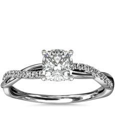 铂金小巧扭纹钻石订婚戒指(1/10 克拉总重量)