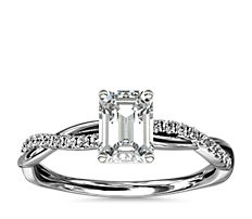 Petite Twist Diamond Engagement Ring in Platinum (0.09 ct. tw.)