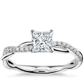 has matching band petite twist diamond engagement ring - Square Cut Wedding Rings