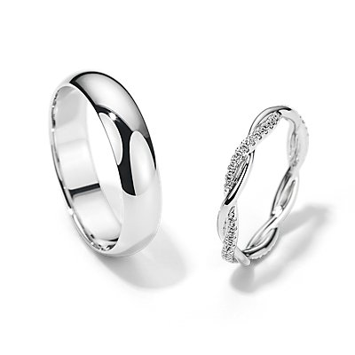 Petite Twist Eternity and Mid-weight Comfort Fit Set in 14k White Gold