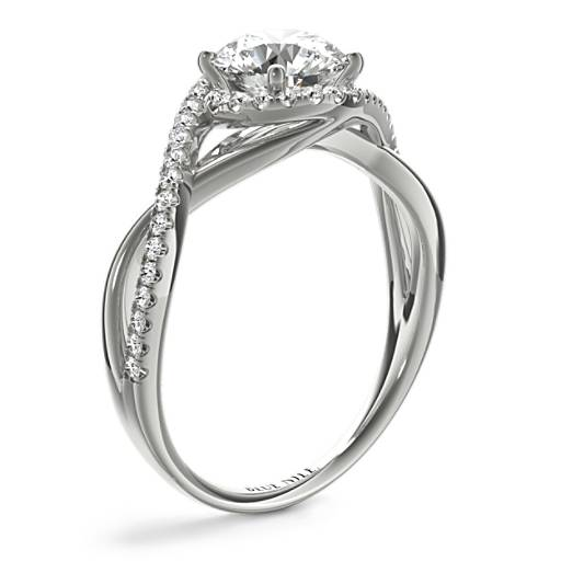 Petite Twisted Halo Diamond Engagement Ring