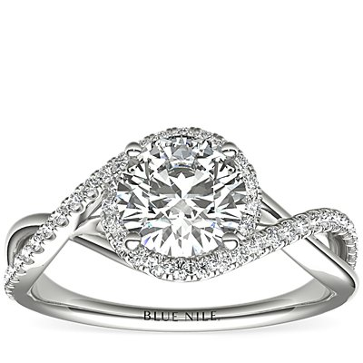 Petite Twisted Halo Diamond Engagement Ring in 14k White Gold (1/4 ct. tw.)
