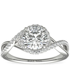 Petite Twisted Halo Diamond Engagement Ring in 14k White Gold (0.24 ct. tw.)