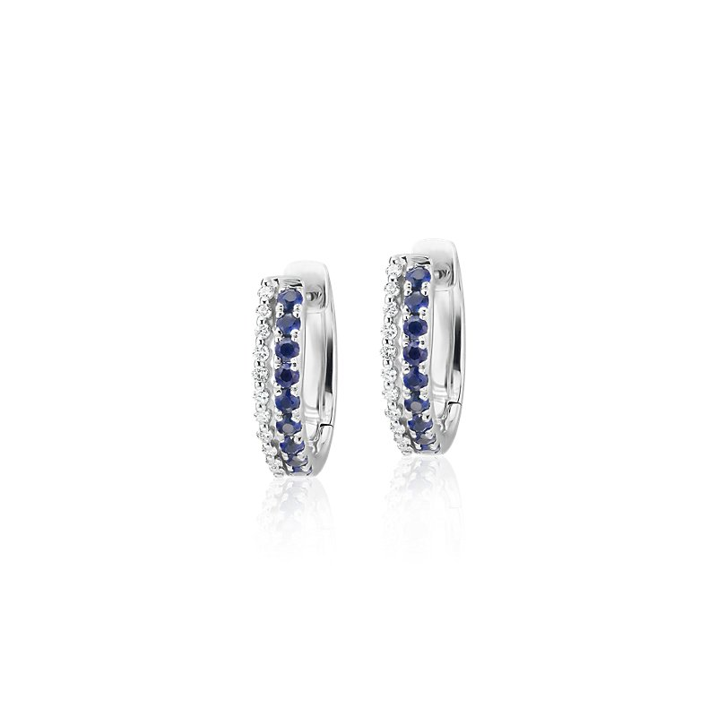 Petite Two Row Sapphire and Diamond Huggie Hoops in 14k White Gol