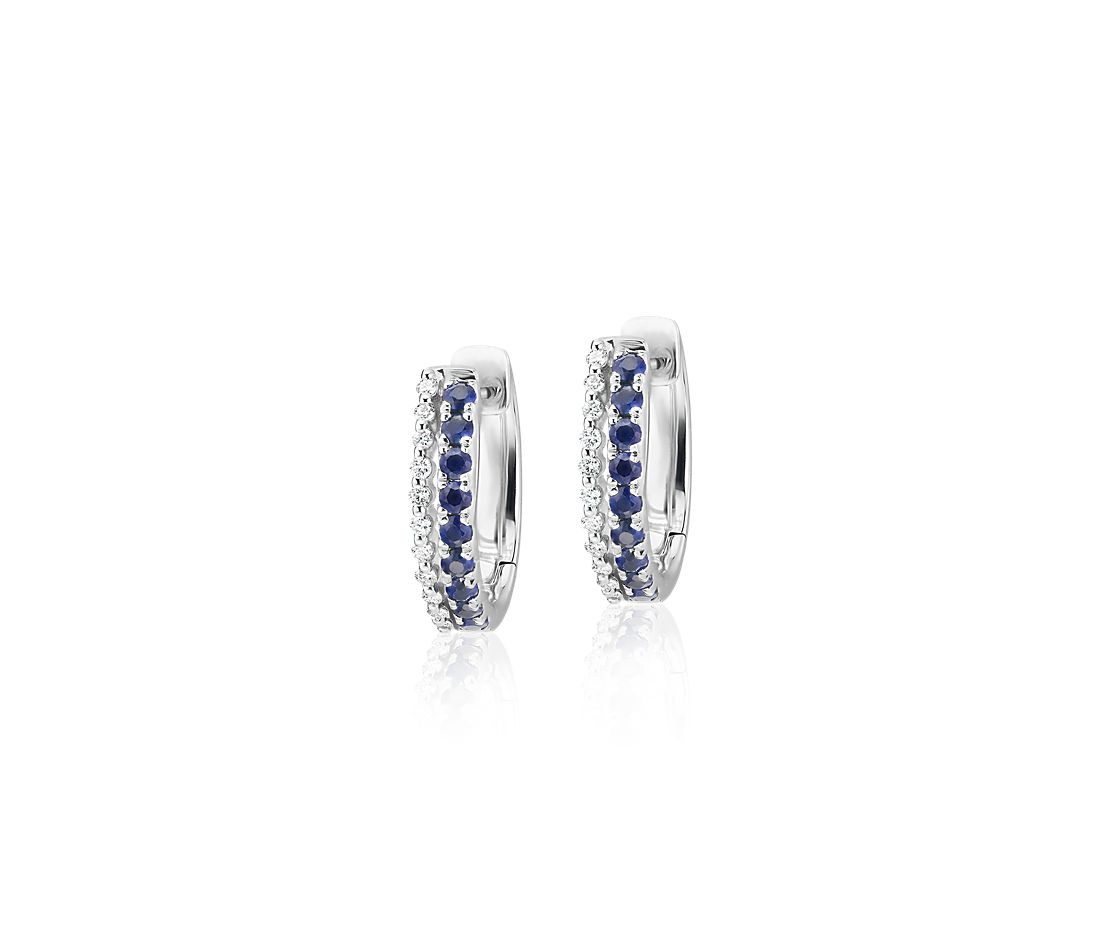 Petite Two Row Sapphire and Diamond Huggie Hoops in 14k White Gold (1.4mm)