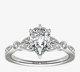 Petite Vintage Pavé Leaf Diamond Engagement Ring