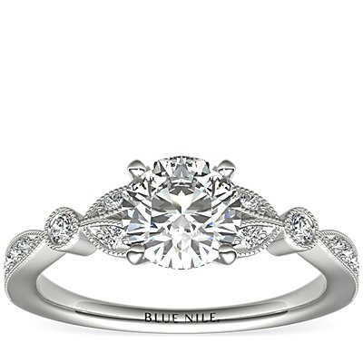 Petite Vintage Pavé Leaf Diamond Engagement Ring in 14k White Gold