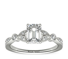 Petite Vintage Pavé Leaf Diamond Engagement Ring in 14k White Gold (0.18 ct. tw.)