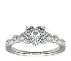 Petite bague de fiançailles diamant feuille serti pavé vintage en or blanc 14carats (0.18carat, poids total)