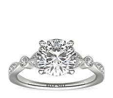 Petite Vintage Pavé Leaf Diamond Engagement Ring in 14k White Gold (0.18 ct. tw.)