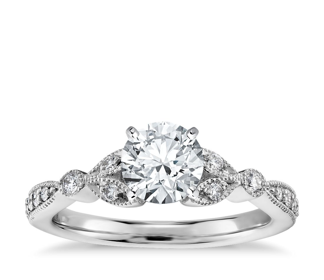 petite vintage pav leaf diamond engagement ring in 14k white gold 15 ct tw - Leaf Wedding Ring