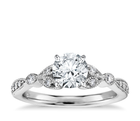 Pee Vintage Pavé Leaf Diamond Engagement Ring In 14k White Gold 1 5 Ct