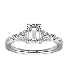 14k 白金小巧復古密釘葉片鑽石訂婚戒指(1/5 克拉總重量)