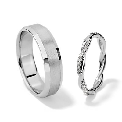 Petitie Twist Diamond Eternity and Lathe Emery Comfort Fit Set in 14k White Gold