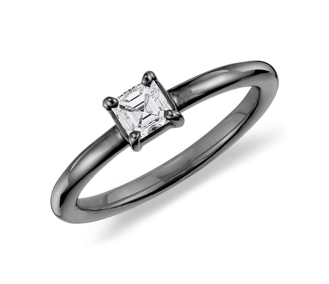 Asscher Cut Diamond Ring in 14k White Gold with Black Rhodium (1/3 ct. tw.)