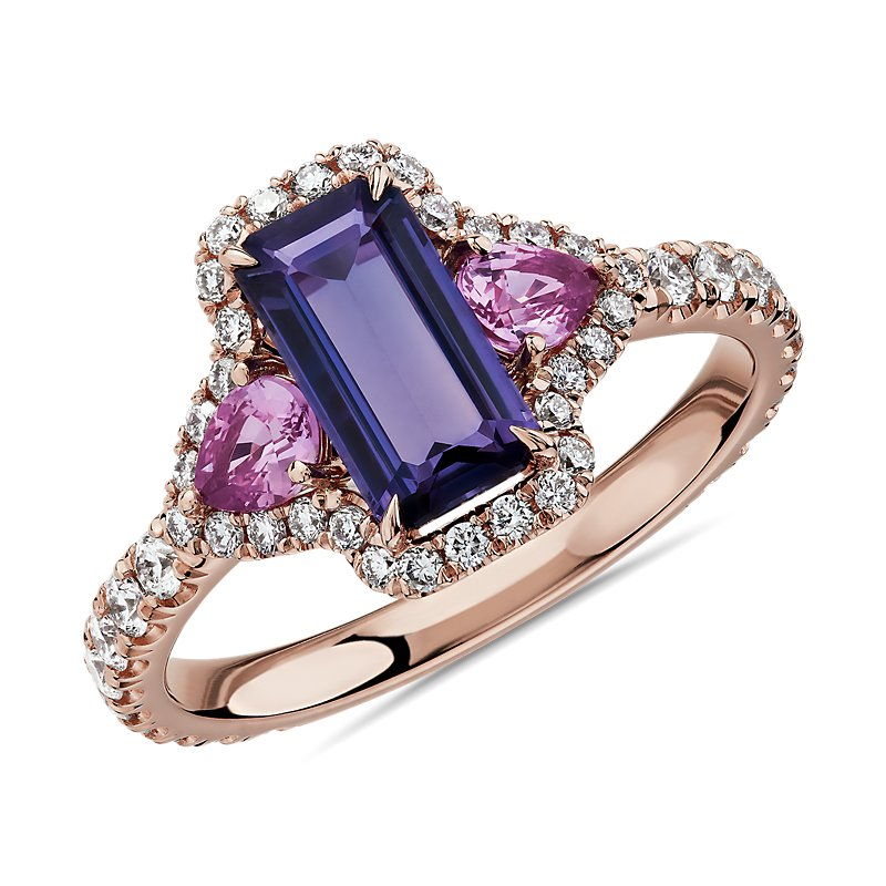 Pink and Purple Sapphire Three Stone Diamond Halo Ring in 18k Ros