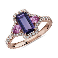 NEW Pink and Purple Sapphire Three Stone Diamond Halo Ring in 18k Rose Gold
