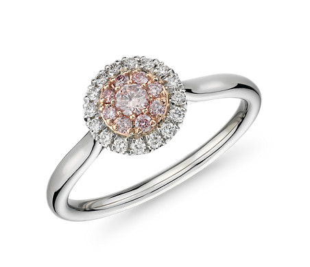 Bague halo de diamants roses et blancs en platine et or rose 14 carats - (1/5 carat, poids total)