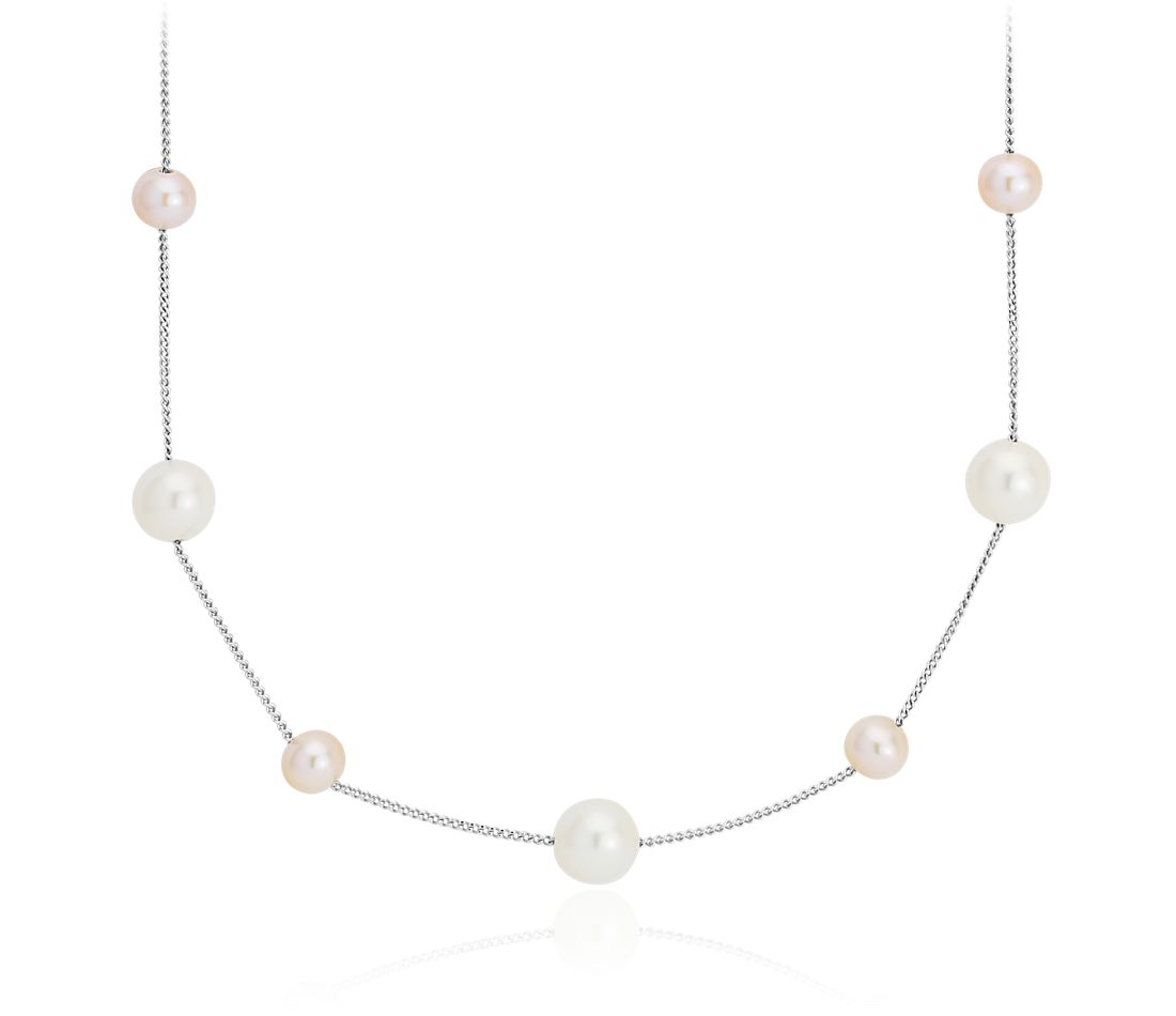 Pink and White Freshwater Cultured Pearl Stationed Necklace in 14k White Gold (5.5-7.5mm)