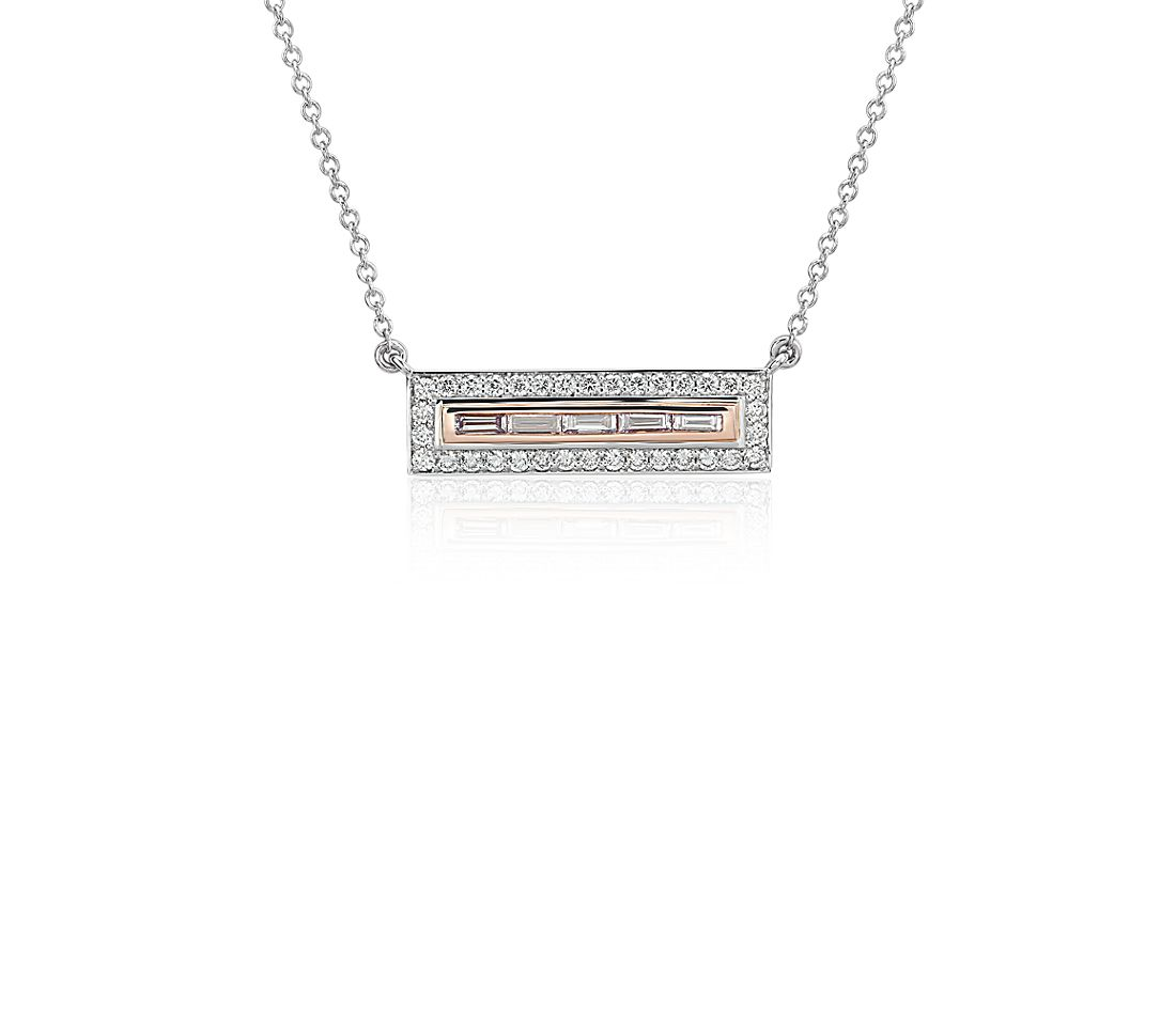 Pink Diamond Bar Necklace In Platinum And 18k Rose Gold 0 42 Ct Tw
